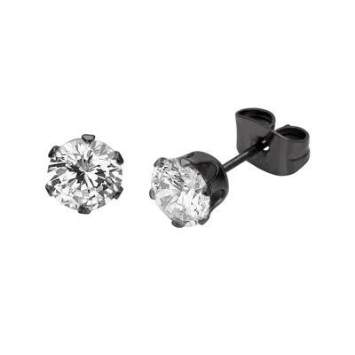 Cubic Zirconia 6mm Stainless Steel and Black IP Stud Earrings