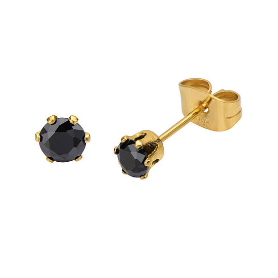 Black Cubic Zirconia 4mm Stainless Steel and Yellow IP Stud Earrings