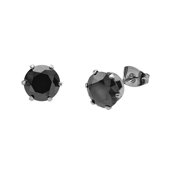 Black Cubic Zirconia 8mm Stainless Steel Stud Earrings