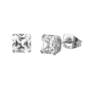 Cubic Zirconia 5mm Stainless Steel Square Stud Earrings