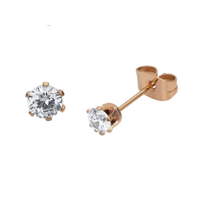 Cubic Zirconia 3mm Stainless Steel and Rose-Tone IP Stud Earrings