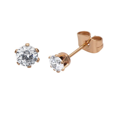 Cubic Zirconia 4mm Stainless Steel and Rose-Tone IP Stud Earrings