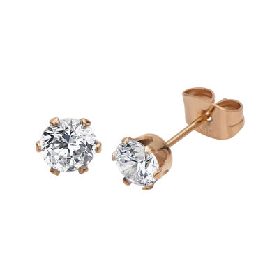 Cubic Zirconia 5mm Stainless Steel and Rose-Tone IP Stud Earrings