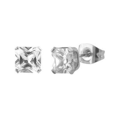 Cubic Zirconia 6mm Stainless Steel Square Stud Earrings
