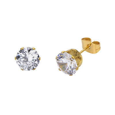 Cubic Zirconia 8mm Stainless Steel and Yellow IP Stud Earrings