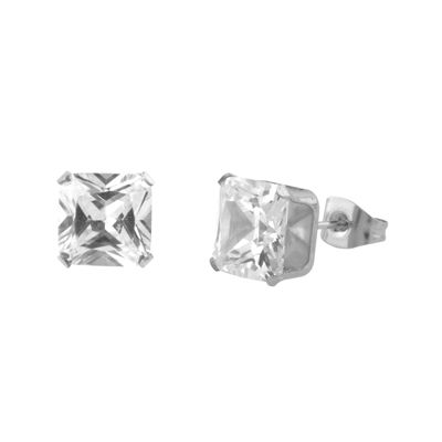 Cubic Zirconia 8mm Stainless Steel Square Stud Earrings