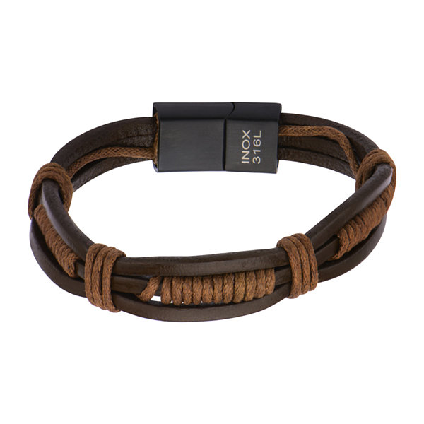 Mens Brown Leather and Rope Wrap Bracelet