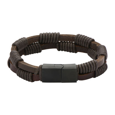 Mens Double-Row Brown Leather and Rope Wrap Bracelet