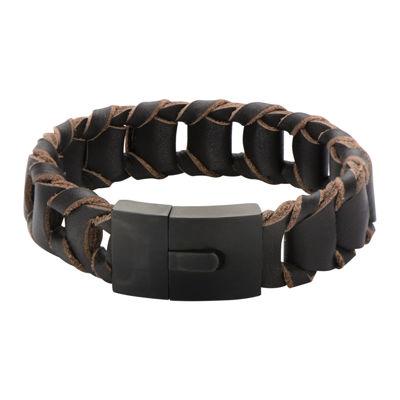 Mens Fold Braided Brown Leather Bracelet