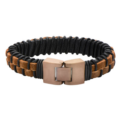 Mens Rope and Black Leather Bracelet