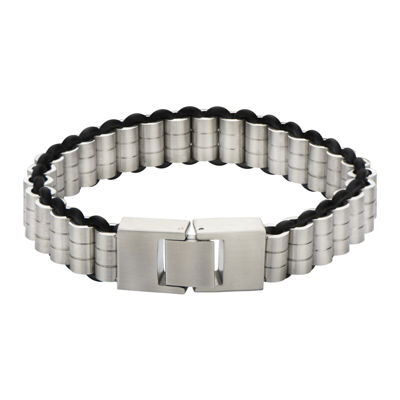 Mens Cylindrical Stainless Steel and Rubber Bracelet