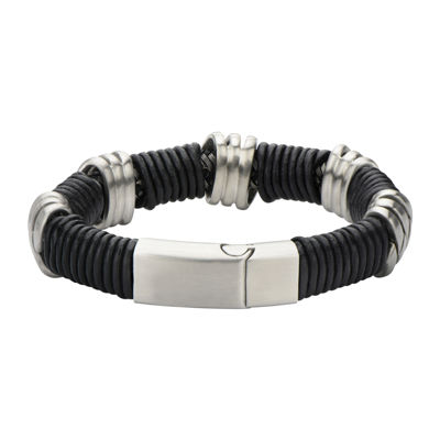 Mens Stainless Steel and Matte Black Leather Loop Bracelet