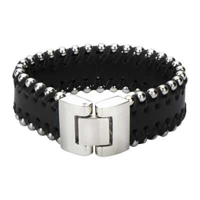 Mens Black Leather and Stainless Steel Bead Bracelet