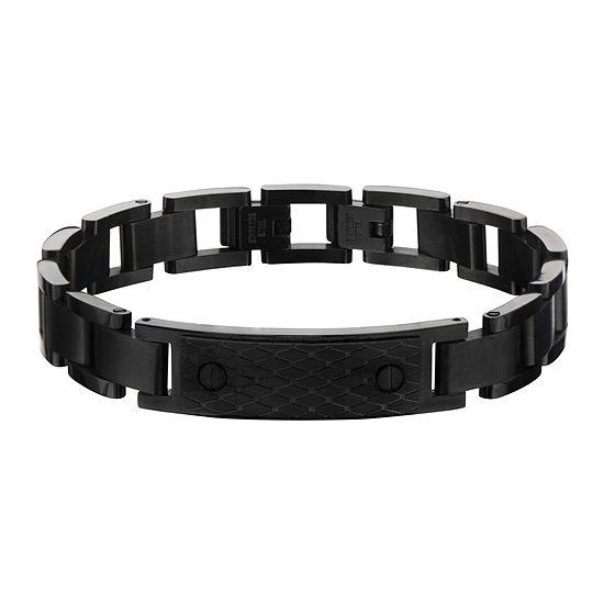 Mens Matte Black Stainless Steel Grid-Pattern Bracelet
