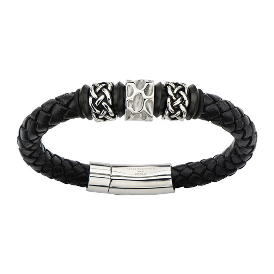 Mens Black Braided Leather and Stainless Steel Celtic Knot Bracelet
