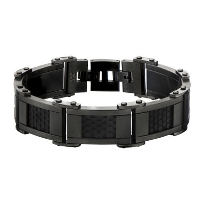 Mens Black and Gunmetal Stainless Steel Car Grill Link Bracelet