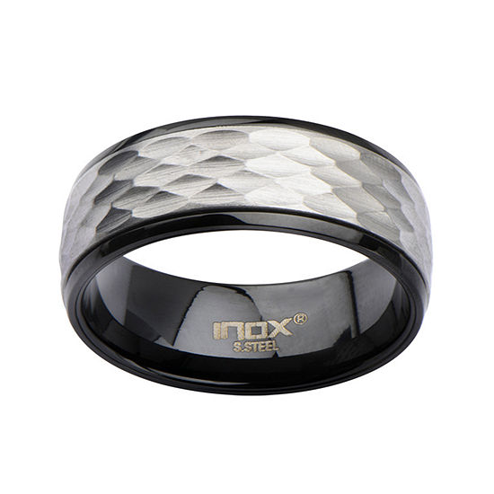 Mens Hammered Two-Tone Stainless Steel Band
