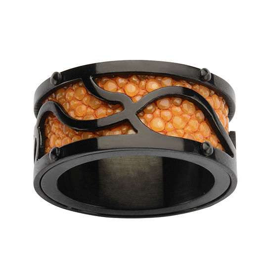 Mens Black and Orange Stainless Steel Stingray Ring