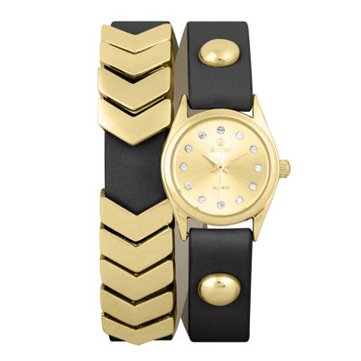 Decree® Girls Black Gold-Tone Chevron Wrap Watch