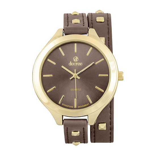 Decree® Girls Brown Gold-Tone Stud Wrap Watch