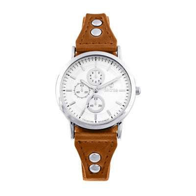 Decree® Girls Orange Silver-Tone Vintage Stud Strap Watch