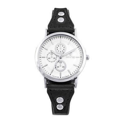 Decree® Girls Black Silver-Tone Vintage Stud Strap Watch