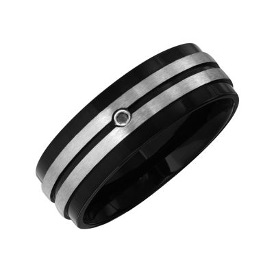 Mens Black Diamond Accent Black IP Stainless Steel Wedding Band