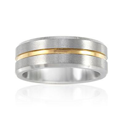 Mens 8mm Tungsten Carbide Comfort Fit Wedding Band