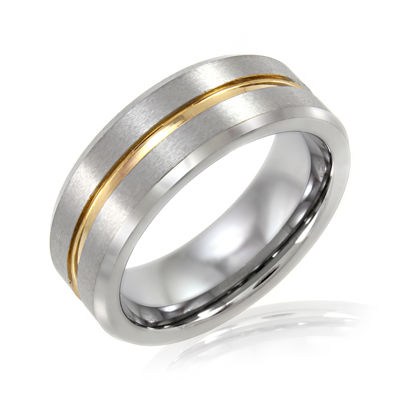 Mens 8mm Tungsten Carbide Comfort Fit Wedding Band