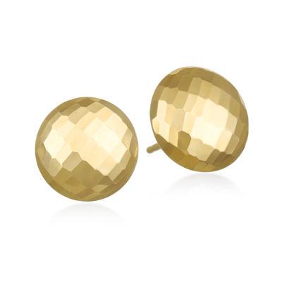 14K Yellow Gold Diamond-Cut Round Stud Earrings