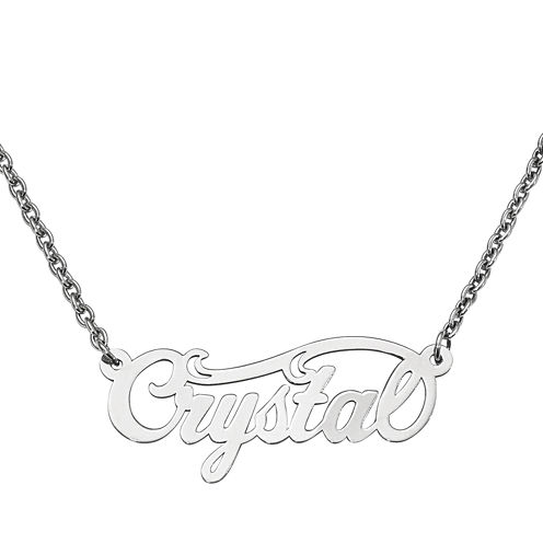 Personalized 14x37mm Swirl Name Necklace