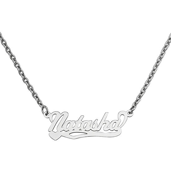 Personalized 10x31mm Heart Scroll Name Necklace