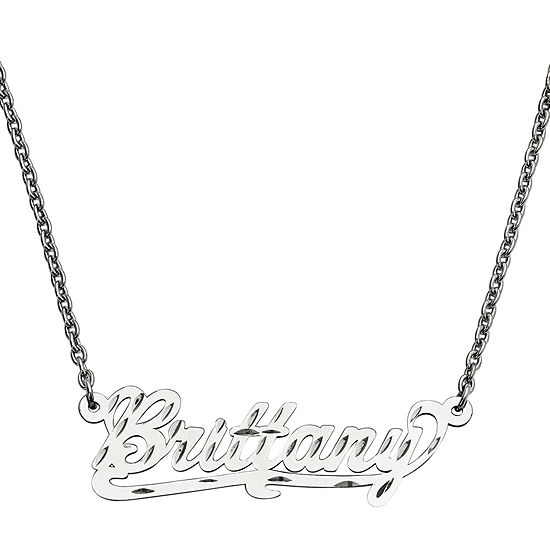 Personalized 15x45mm Diamond-Cut Scroll Name Necklace