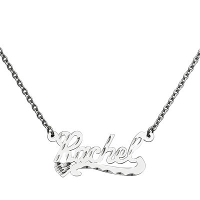 Personalized 15x34mm Diamond-Cut Scroll Name Necklace