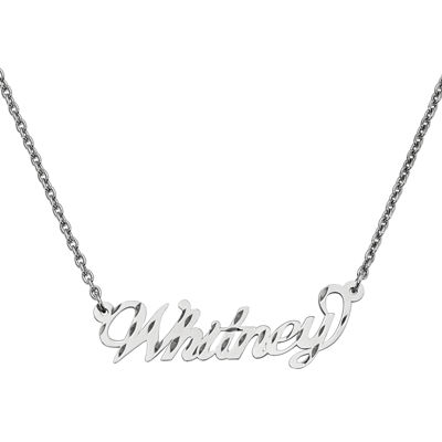 Personalized 15x45mm Diamond-Cut Name Necklace