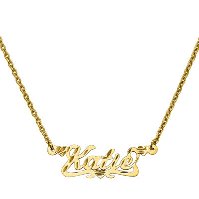 Personalized 13x36mm Diamond-Cut Scroll Name Necklace