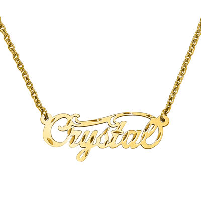 Personalized 14x37mm Diamond Cut Swirled Name Necklace