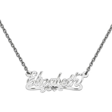 Personalized 12x35mm Diamond Cut Scroll Name Necklace