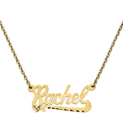 Personalized 15x33mm Diamond-Cut Scroll Name Necklace