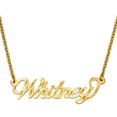 Personalized 15x46mm Diamond-Cut Name Necklace