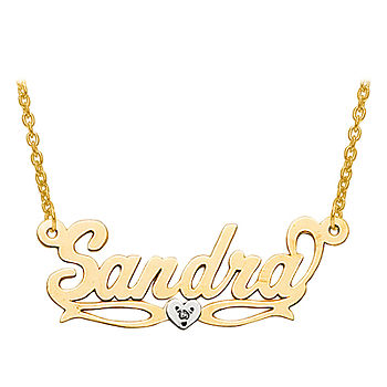 Diamond Accent Two Tone Name Necklace