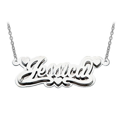 Personalized 14x43mm Polished 3D Name Necklace