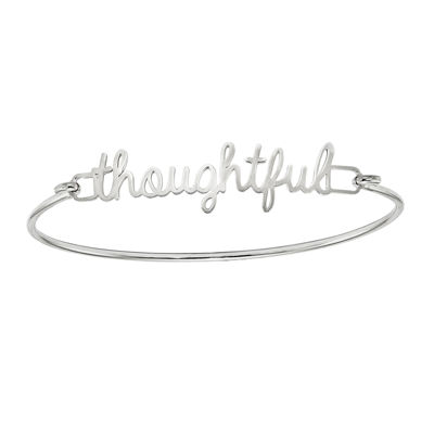 Personalized Sterling Silver Polished Name or Words Bangle Bracelet