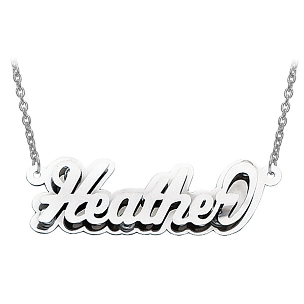 Personalized 13x40mm Polished 3D Name Necklace