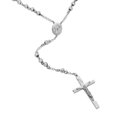 Mens Stainless Steel Rosary Necklace