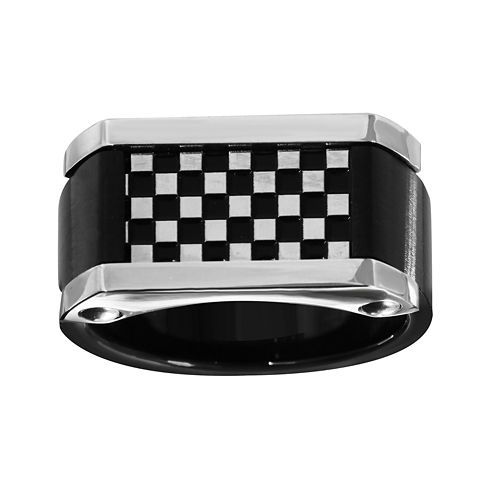 Mens Stainless Steel and Black Ion-Plated Checkerboard Ring