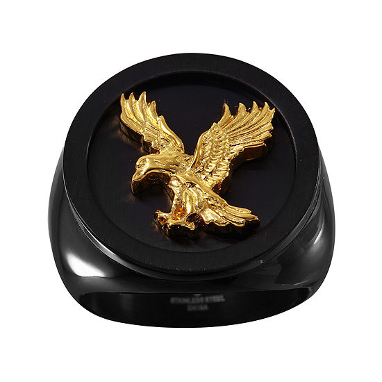 Mens Black and Gold IP Stainless Steel Eagle Ring