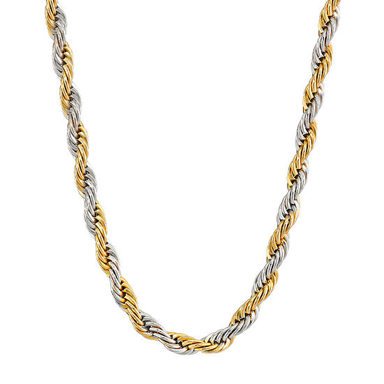 "Mens Two-Tone Stainless Steel 24"" Rope Chain Necklace"