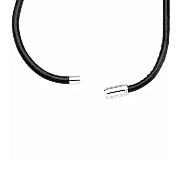 "Mens 19"" Black Leather Necklace"