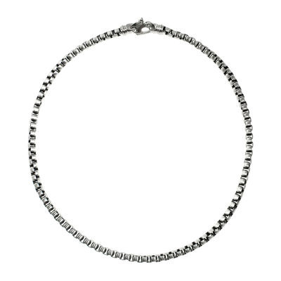 "Mens Stainless Steel 24"" Round Box Chain Necklace"